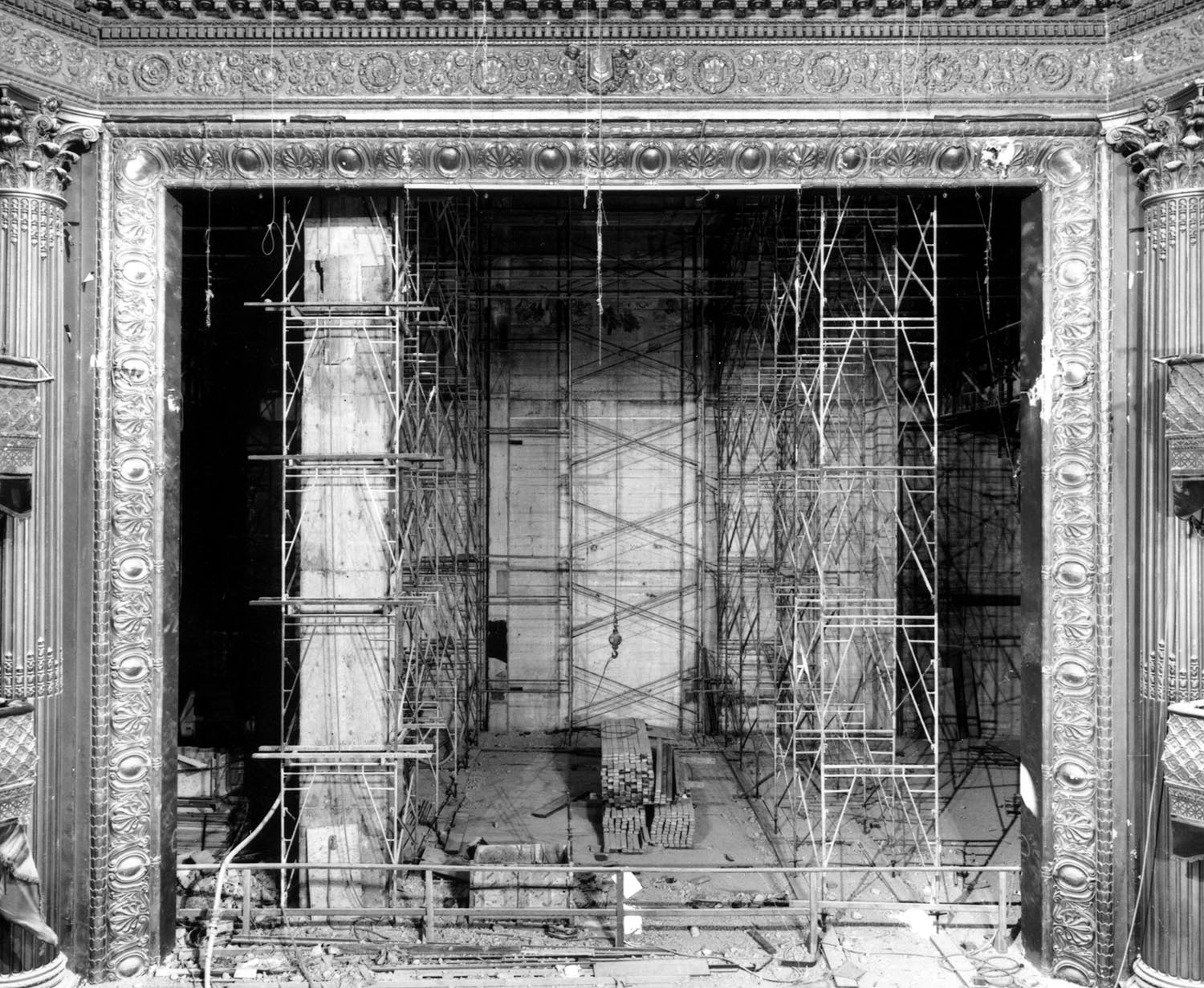 Interior view of lavish Geary Theater in San Francisco, CA with scaffolding and construction materials during renovation